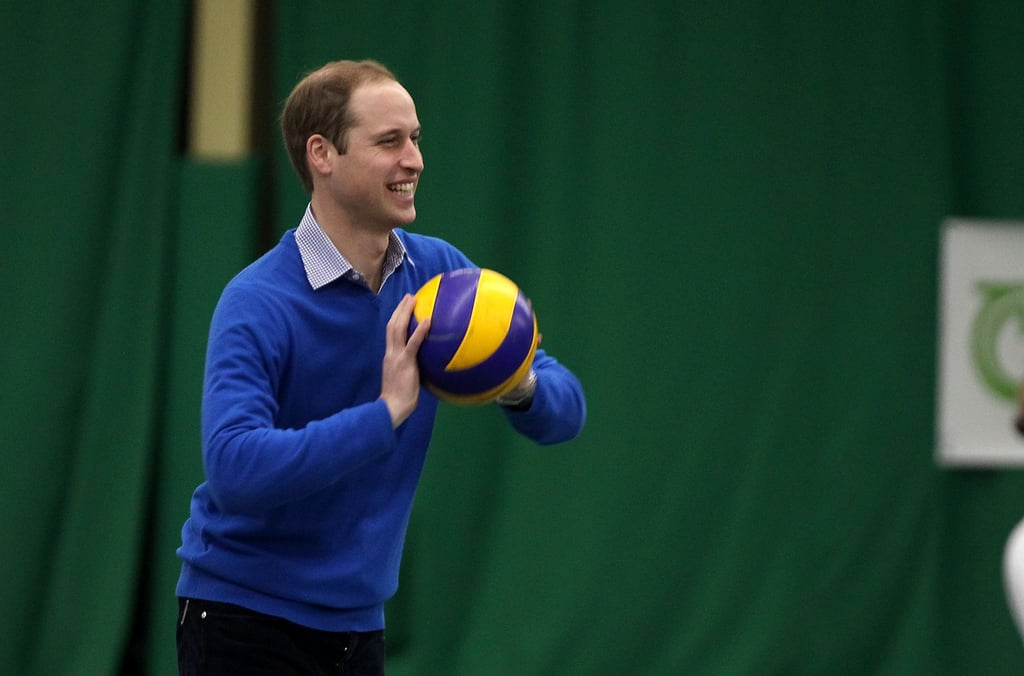 William tossed around a ball with kids during a visit to the Westway Sports & Fitness Centre in December 2013.
