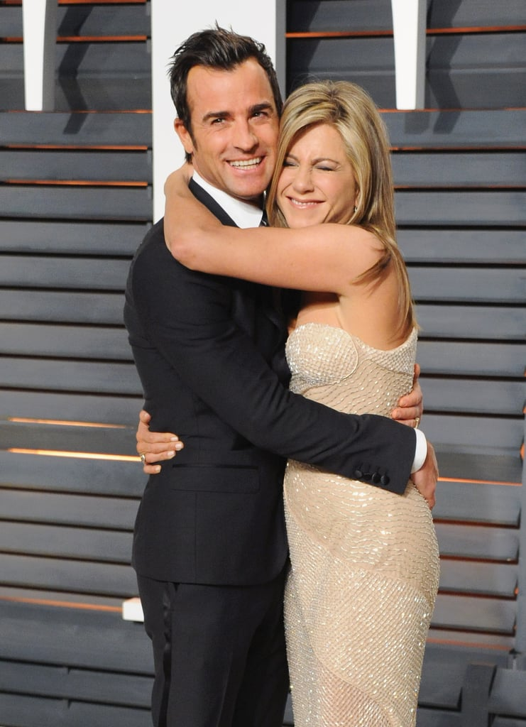 Jennifer gave Justin a big hug at the 2015 Vanity Fair Oscars party.