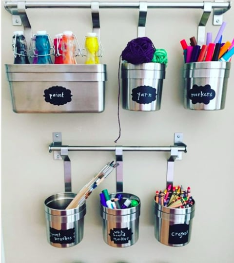 Hang Art Supplies Using Cans and Bins