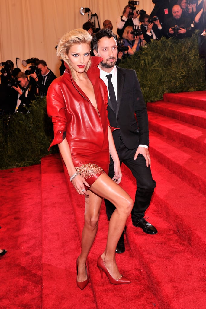 Anja Rubik was the lady in red (leather) in her minidress by Anthony Vaccarello.