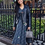 On Assistant Editor Nikita Ramsinghani: Maje leather jacket, Zayan The Label dress, Saint Laurent handbag, and Salvatore Ferragamo boots.