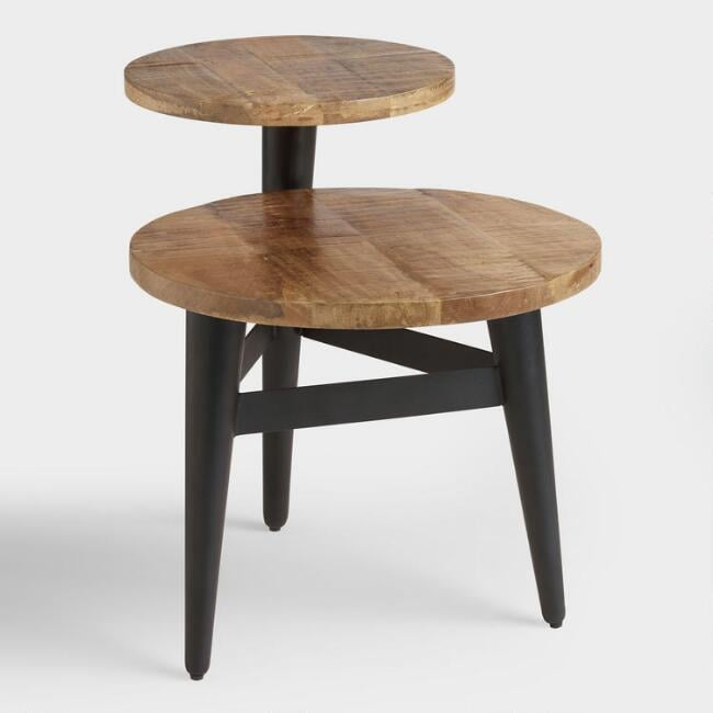 Wood and Metal Multilevel Accent Table