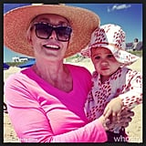 Molly Sims shared this photo of her son, Brooks, and his grandma enjoying a beach day.  Source: Instagram user mollybsims