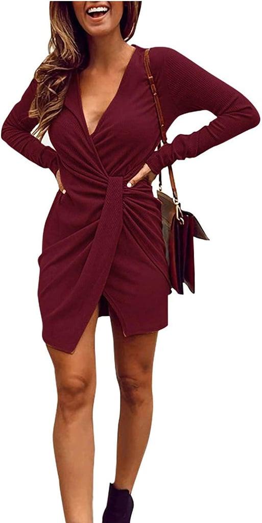 Limtery V-Neck Ribbed Knit Dress