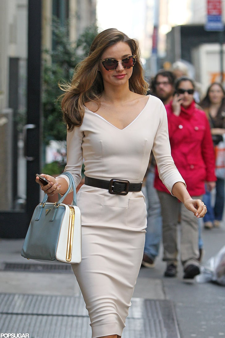 Miranda Kerr Stepped Out In A Belted White Dress In Nyc