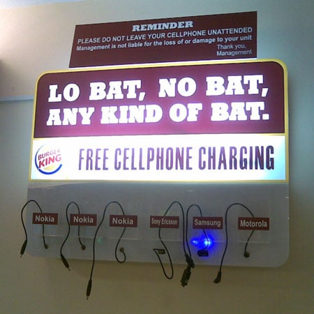 Cell Charging Station Inside Burger King In Philippines