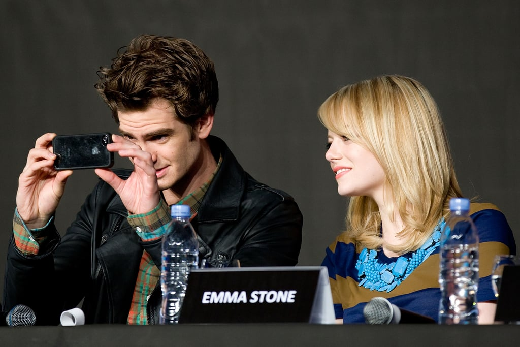 Andrew Garfield captured the crowd with Emma Stone at a press conference for The Amazing Spider-Man in Seoul.