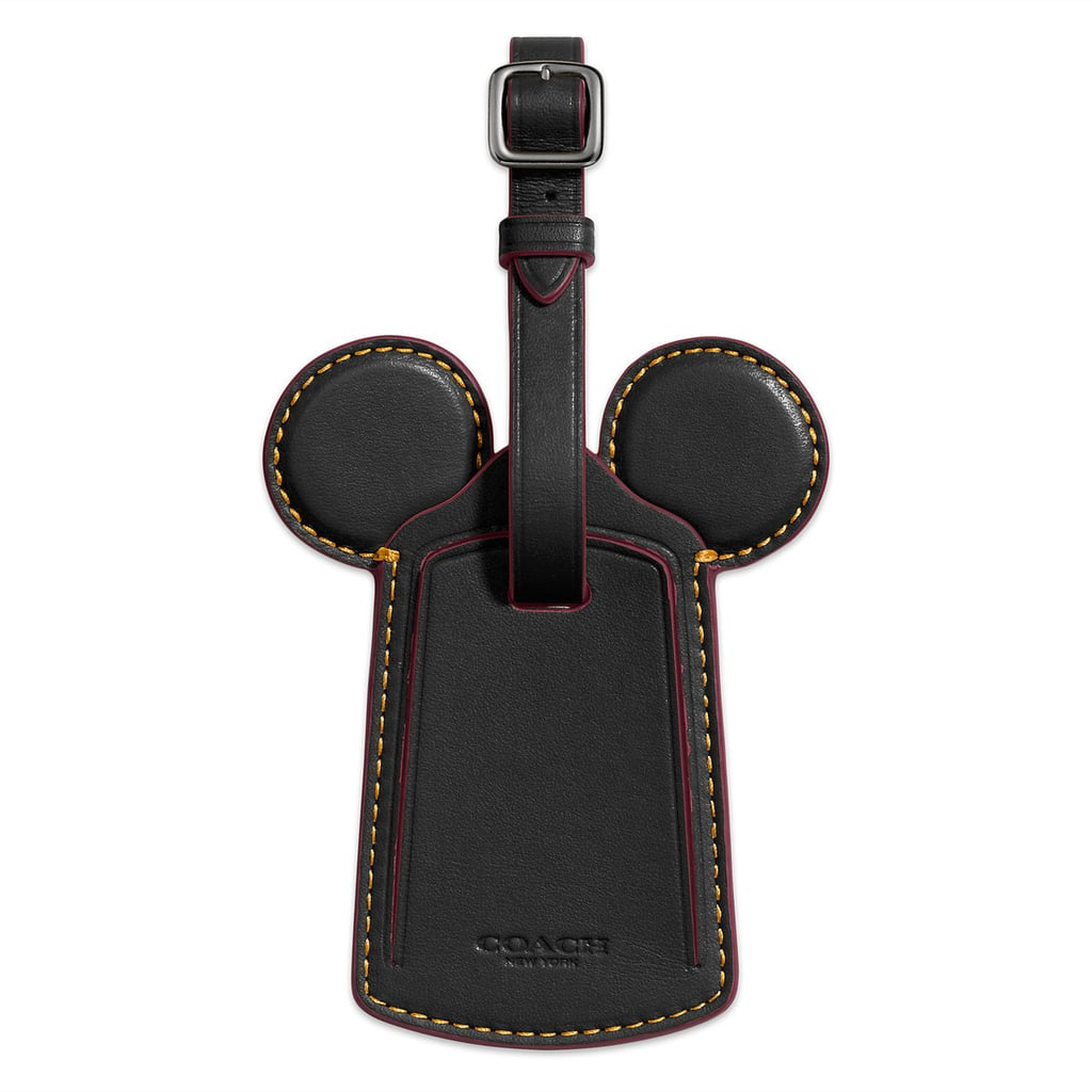 Mickey Mouse Ears Leather Luggage Tag by Coach — Black ($60)