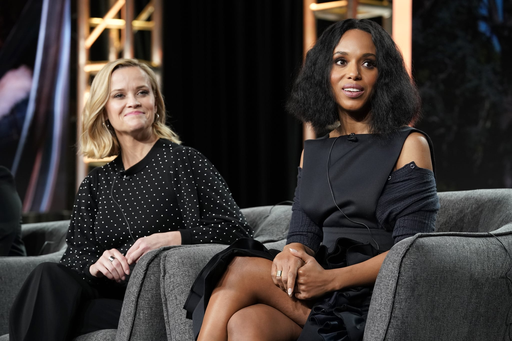 PASADENA, CALIFORNIA - JANUARY 17: (L-R) Reese Witherspoon and Kerry Washington speak onstage during the Hulu Panel at Winter TCA 2020 at The Langham Huntington, Pasadena on January 17, 2020 in Pasadena, California. (Photo by Erik Voake/Getty Images for Hulu)