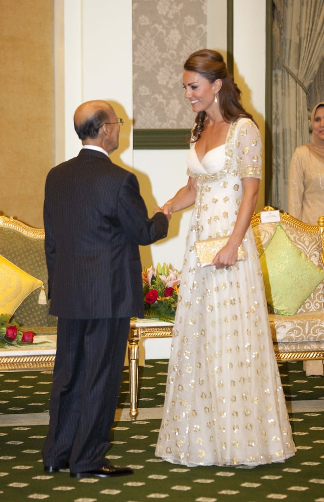 Wearing custom Alexander McQueen for an official dinner hosted by Malaysia's Head of State Sultan Abdul Halim Mu'adzam in September 2012.