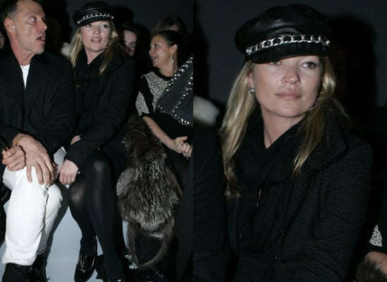 Photos of Kate Moss at London Fashion Week in a Hat