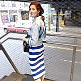 With a Striped Skirt