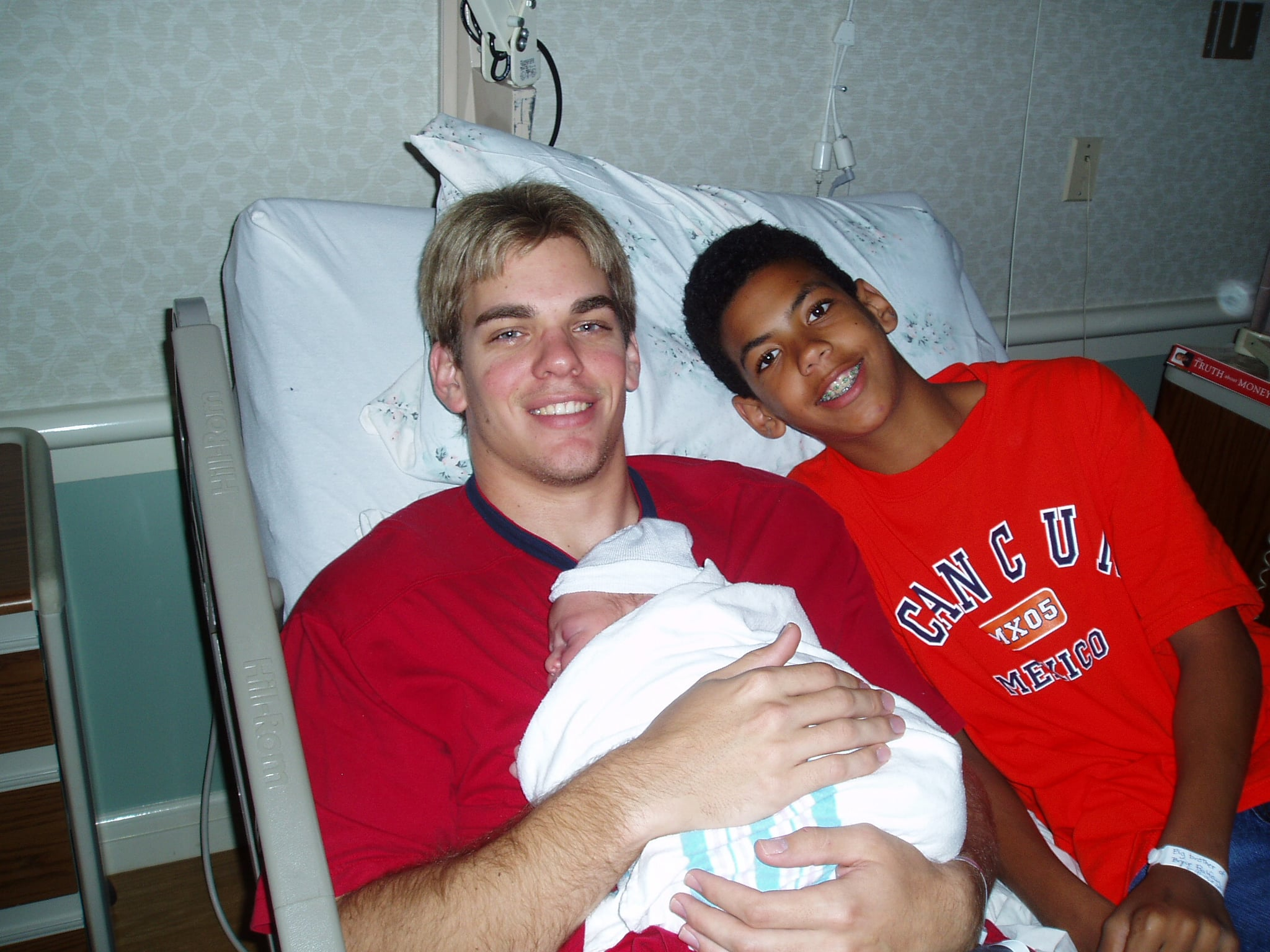 Jarrett (left) and Braiden (right) spent time with Bryce in the hospital just after his birth in June of 2006.