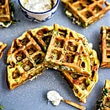 Greek Spinach, Feta, and Potato Waffle Frittata With Tzatziki