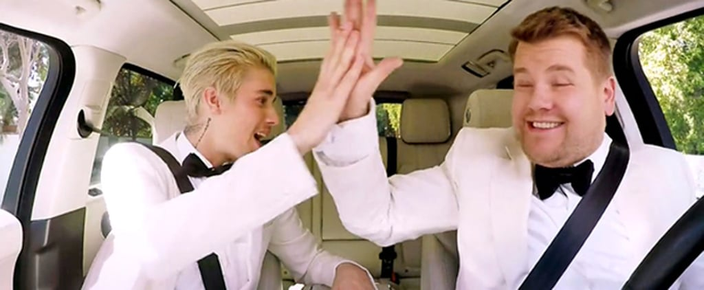 """Justin Bieber and James Corden Blast """"Uptown Funk"""" on the Way to the Grammys"""