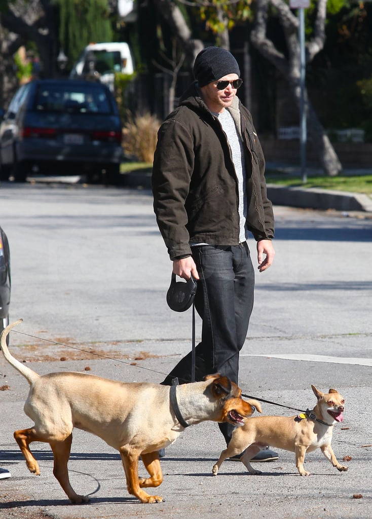 Kellan Lutz chatted with his brother while taking his pups Kola and Kevin for a walk near his LA home yesterday. The actor changed into a tux by the evening so he could attend the Costume Designers Guild Awards along with other stars like Demi Moore, Halle Berry, and Claire Danes. Kellan's Twilight costars, meanwhile, have been spotted leaving California in recent days. Robert Pattinson and Kristen Stewart arrived in Vancouver together earlier this week to prep for a return to work on Breaking Dawn. Dakota Fanning likewise headed out of town just before her 17th birthday. Kellan may bare his famous abs in their upcoming movie, but he's also front and center in hot shirtless scenes in his new film Immortals.