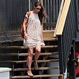 Katie Holmes wore a dress onto the helicopter in NYC.