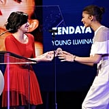 Over at unite4:humanity's party, Demi Lovato presented Zendaya with the young luminary award, the same trophy Demi took home last year.