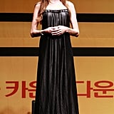 Wearing a L'Agence dress at the Seoul press conference for Salt.