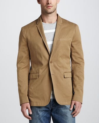 Burberry Brit Twill Sport Coat, Dark Honey