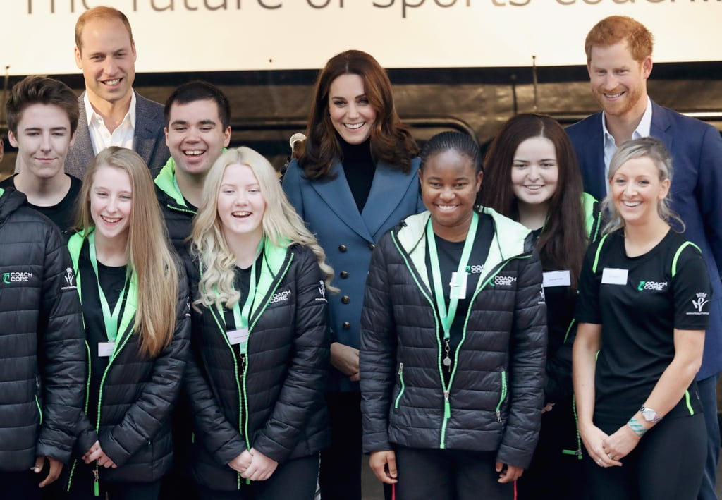 The British royal family has been extremely busy this year, and they're showing no signs of slowing down. On Wednesday, Prince William, Prince Harry, and Kate Middleton were front and center at the Coach Core graduation ceremony in London. Coach Core, which was launched by Will, Kate, and Harry's Royal Foundation in 2012, is an apprenticeship program that trains young adults who are not enrolled in school or are unemployed to be sports coaches. Prior to the ceremony, the royals joined 150 of the apprentices in a coaching master class that included advice from Olympic gymnast Max Whitlock and tennis coach Judy Murray.   The trio's philanthropic outing comes just two days after they met up with the cast of Paddington 2 at London's Paddington Station and a day after Will and Kate formally confirmed that their third child is set to make its debut in April 2018. We can't wait for the little one to arrive!