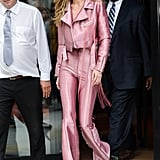 Gigi Hadid Pink Suit June 2017