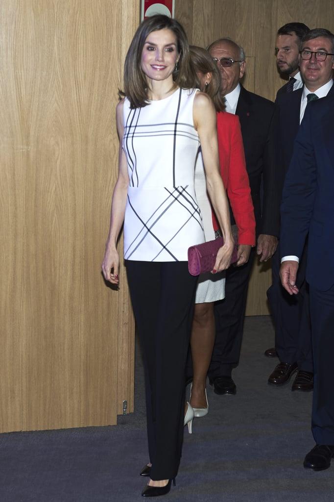 Queen Letizia's Hugo Boss Geometric Top September 2016