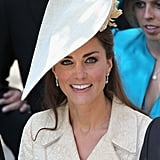 The duchess attended Zara Phillips's wedding in 2011 with this stylish, saucer-like headpiece.