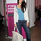 Jordana Brewster channeled a chic take on denim in a bright top and tweedy jacket.
