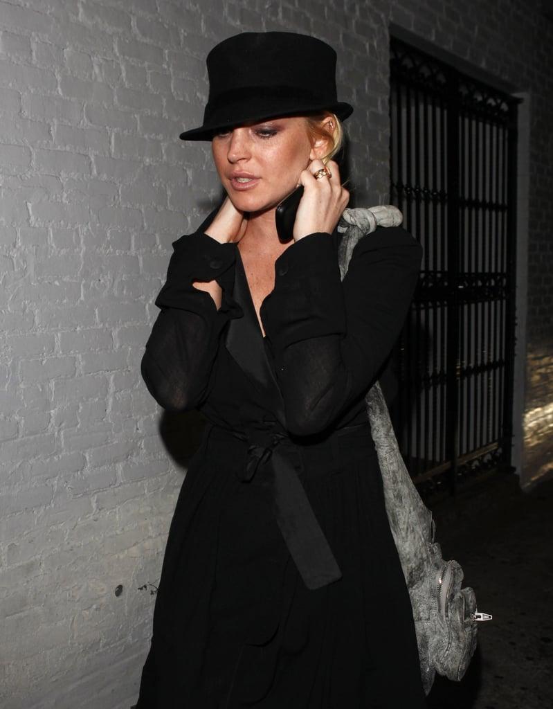 Photos of Lindsay Lohan in a black hat in LA