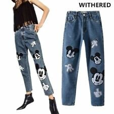 Vintage High Waist Women's Jeans Cute Mickey Mouse Embroidery Fashion Pants Blue