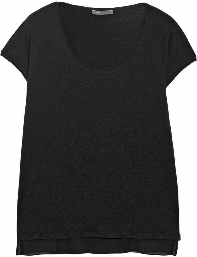 Vince Layered Linen and Chiffon T-Shirt ($175)