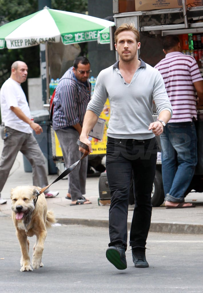 Ryan Gosling took his dog George along to the Crazy Stupid Love press junket in NYC Saturday. The four-legged friend is Ryan's constant companion these days, and George even sat in on some of the actor's interviews during the afternoon. Ryan and George recently relocated to the Big Apple and have been taking on the city's hot, Summer days together so far. During the press day Ryan had nothing but praise for his costars in the movie, including Emma Stone, Steve Carell, and Julianne Moore, and Gosling also revealed how much he loves overhearing all the interesting conversations going on around him in Manhattan. Ryan and the rest of the cast will be together again tomorrow evening for their big premiere and the always-sharp dresser will have the challenge of looking cool on another steamy night in the city.