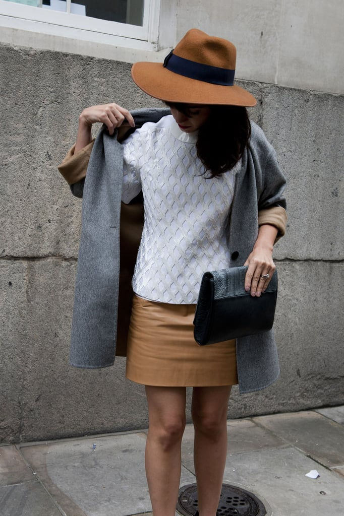 We love this neutral mix: white, grey and camel.