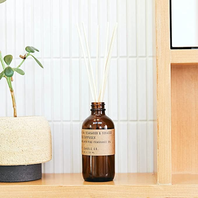 P.F. Candle Co. Teakwood & Tobacco Classic Scented Rattan Reed Diffuser
