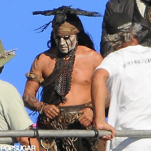 Johnny Depp went shirtless on set.
