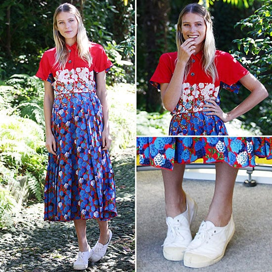 Pictures of Dree Hemingway's Off-Duty Model Style: Shop Her Marc Jacobs Floral Dress and Trainer Combo via Shopstyle Australia