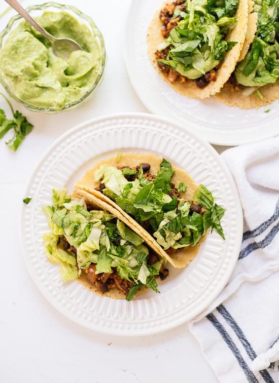 Quinoa Black Bean Tacos With a Creamy Avocado Sauce
