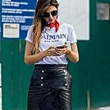 Doina Ciobanu Wore a White Balmain T-Shirt Styled With a Red Neck Scarf and Skirt