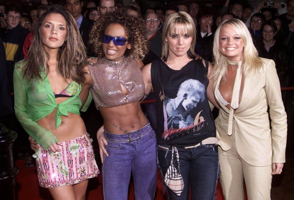 Pop stars Victoria Beckham, Melanie Brown, Melanie Chisholm and Emma Bunton attended the London launch party for Forever at the Red Cube Club in November 2000.