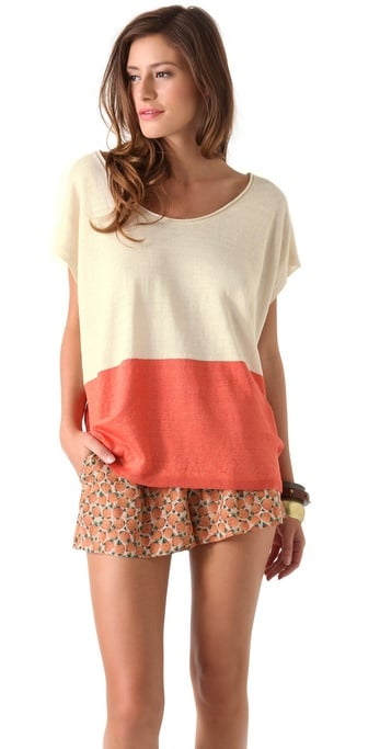 We love the Creamsicle shades of this colorblock top.  Joie Carne Top ($174)