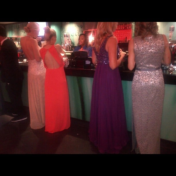 Even the line for the concession stands inside the Nokia Theatre were packed with ladies in gorgeous gowns.  Source: Instagram user marcmalkin