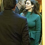 Kim Kardashian and Kanye West snuck a kiss.