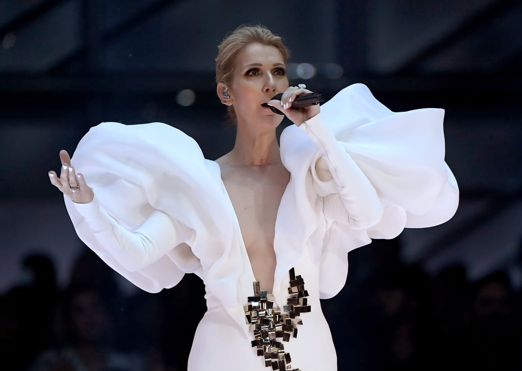 "After skipping the preshow red carpet, Celine Dion finally graced the Billboard Music Awards with her inimitable presence. During her performance of ""My Heart Will Go On"" — in celebration of the song's 20th anniversary — Celine wore an astounding white gown with larger-than-life, avant-garde shoulders. Not only that, but the front of the gown also featured metallic embellishments at the waist.  Though Celine has always had glamorous taste, she's recently been more experimental with her style, thanks in part to her stylist, Law Roach. Just this month, she attended her very first Met Gala wearing a daring custom gown by Donatella Versace.       Related:                                                                                                           The Looks at the 2017 Billboard Music Awards Were Fresh to Death"
