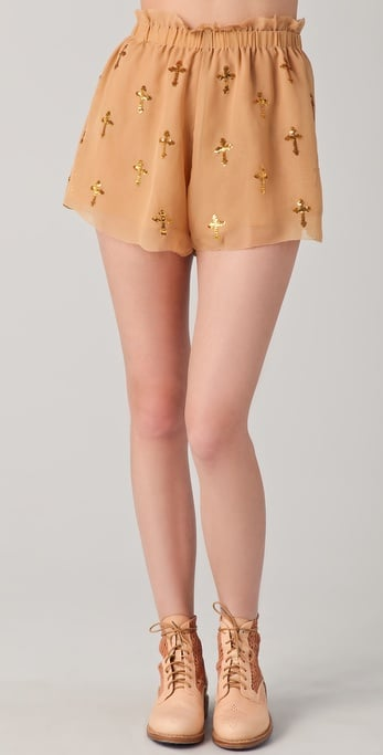 The sequined crosses on these shorts are subtle, which makes them perfect for daytime wear.  Wildfox White Label Romeo & Juliet Shorts ($145)