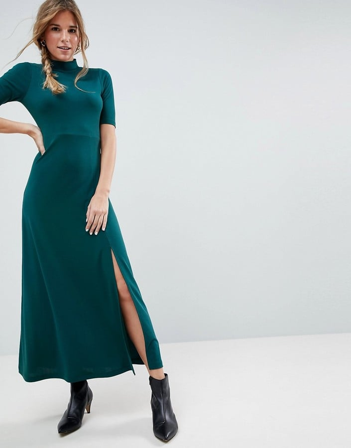 ASOS Crepe Maxi Dress With Sweetheart Back