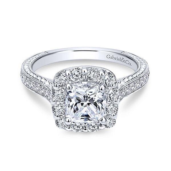 Gabriel NY 14k White Gold Diamond Halo Engagement Ring
