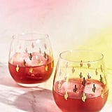 Urban Outfitters Metallic Cactus Stemless Wine Glass Set