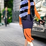 Wear a Fuzzy Scarf With a Colorblock Dress