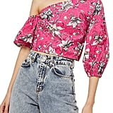 Topshop Floral Puff Off-the-Shoulder Top